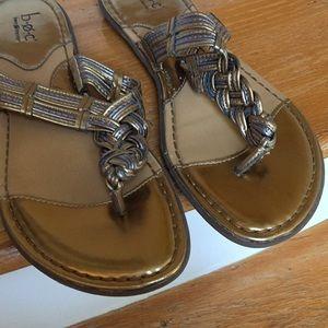boc Shoes - Born b.o.c Metallic gold/silver braid thongs VGUC